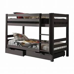Lit Superposé Tiroir : lit superpos 2 tiroirs de lit enfant pino gris ~ Teatrodelosmanantiales.com Idées de Décoration