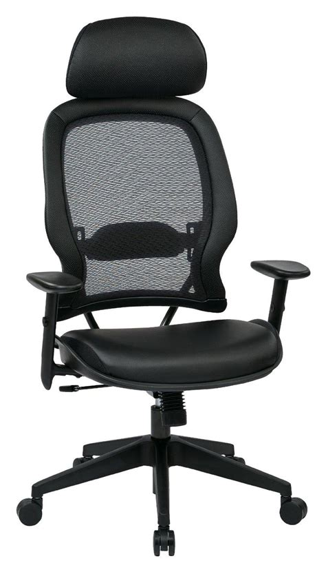 Office Star Leather Air Grid Chair With Adjustable Lumbar