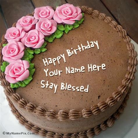 Birthday Cake Images Chocolate Birthday Cake With Roses With Name
