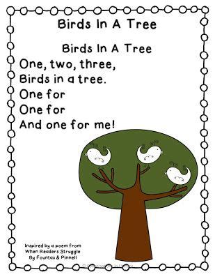 preschool bird songs and fingerplays birds in a tree freebie poem for learning letters and 689