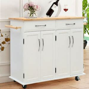large kitchen island trolley cart  wheels  cupboard