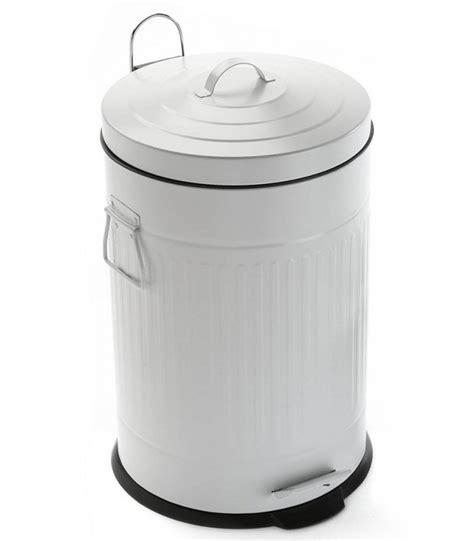poubelle cuisine poubelle de cuisine rétro en métal blanc 30l wadiga com