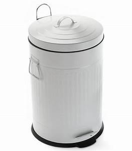 poubelle de cuisine retro en metal blanc 30l wadigacom With cuisine retro