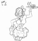 Waitress Drawing Getdrawings sketch template