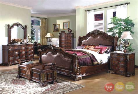 Royale Sleigh Dark Bed Luxury Bedroom Furniture Set|free