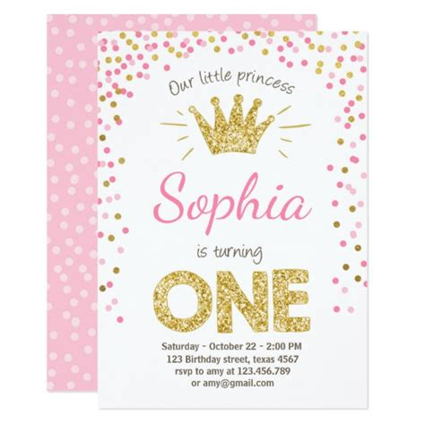pink and gold invitations templates birthday invitation princess gold pink zazzle au