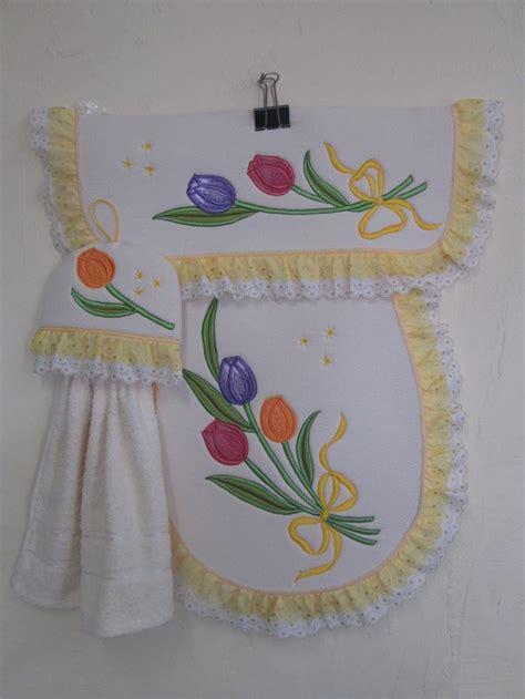 juego  bano en manta bordado tulipanes otros