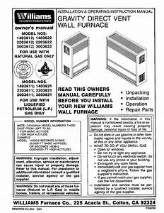 Williams Furnace 1403612 User Guide