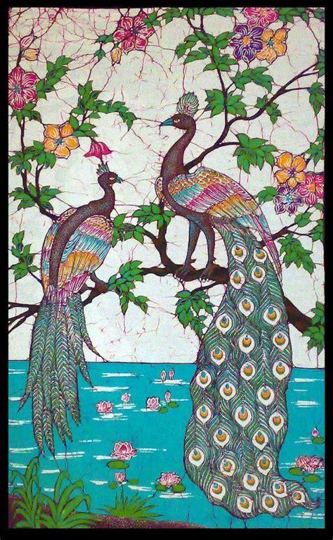 peacocks near pond of lotus peacock design batik wall hanging tapestry batik