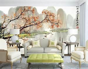 tapisserie numerique sur mesure style chinois paysage automne With chambre bébé design avec fleur de noel prix