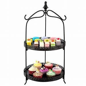 2 Tier Pie & Cake Round Serving Display Stand / Black