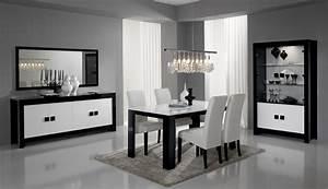salle a manger design complete laquee noire et blanche With salle À manger contemporaineavec meubles salle a manger soldes