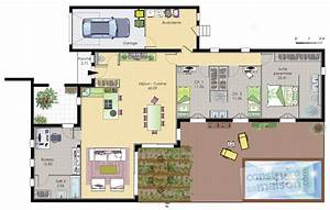 plan de maison plain pied With attractive idee maison plain pied 2 photo de maison darchitecte plain pied
