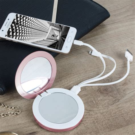 hyper pearl compact mirror universal power bank rose
