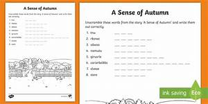 A Sense Of Autumn Word Scramble Worksheet    Activity Sheet
