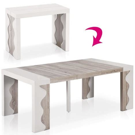 table console extensible 10 couverts ivoire et chene ariala decome store
