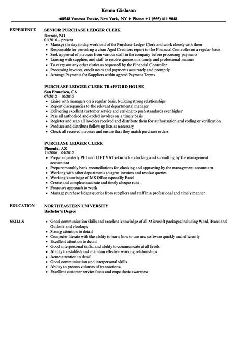 purchase ledger clerk resume samples velvet jobs