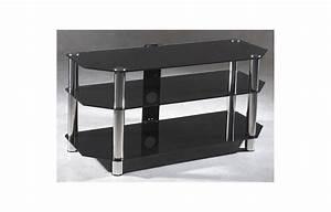 Meuble Tv Metal Noir : meuble tv en verre noir et m tal chrom largeur 110 cm decome store ~ Teatrodelosmanantiales.com Idées de Décoration