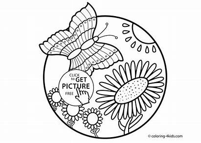 Nature Coloring Flowers Butterfly Printable Butterflies Drawings