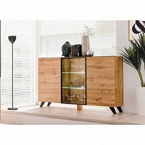 buffet en bois et verre avec eclairage led jao cbc meubles With entree de cle pour meuble 2 sejour bahut buffet meuble dentree meuble