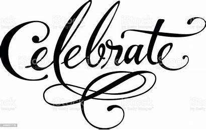 Celebrate Vector Word Celebration Calligraphy Clip Script