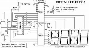 7 Segment Digital Clock Circuit Diagram