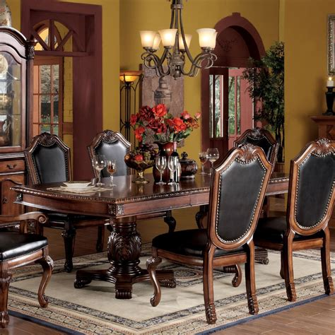 acme furniture nostalgia casual pedestal acme chateau de ville pedestal dining table in