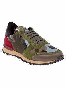 lyst valentino camouflage panel sneaker in green for