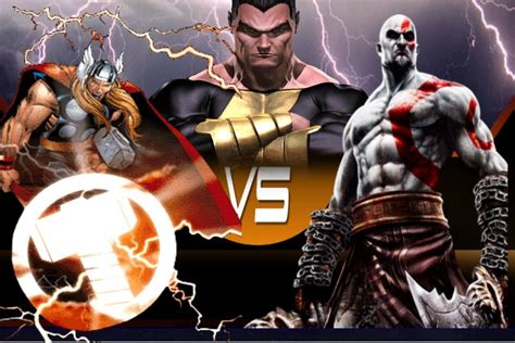 Thor Vs Black Adam Vs Kratos The God Of War In An Epic