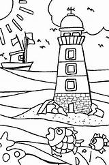 Coloring Lighthouse Lake Lighthouses sketch template
