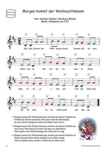 bekannte weihnachtslieder mit farbigen noten fuer gitarre