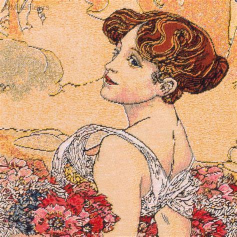 Tapisserie Mucha by Zomer Alfons Mucha Wandtapijten Mille Fleurs Tapestries