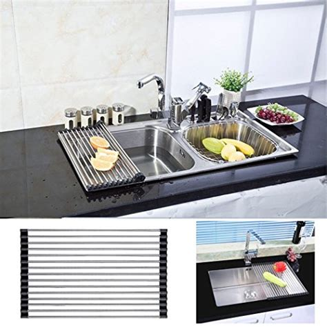 over the sink drying rack roll up drying rack stainless steel foldable over sink