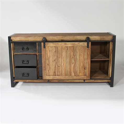 bureau central buffet industriel porte coulissante bois naturel made in