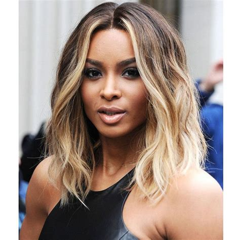 Celebrity Ciara Hairstyle Ombre Blonde Wig Short Pixie Wig