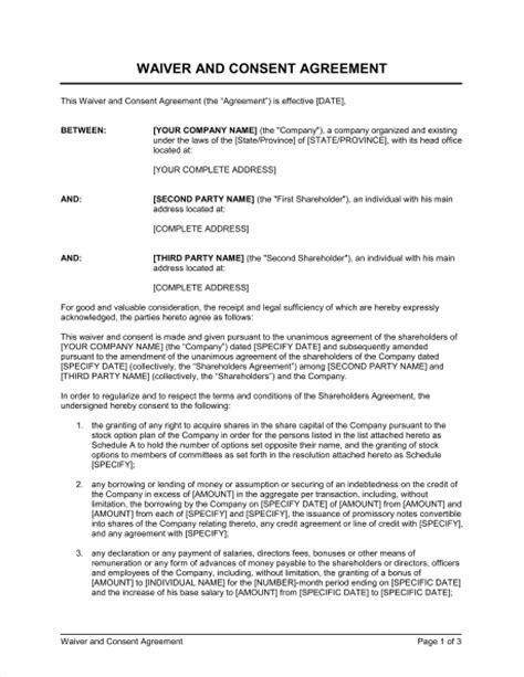 waiver  consent template sample form biztreecom