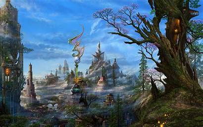 Fantasy Town Wallpaperesque Background