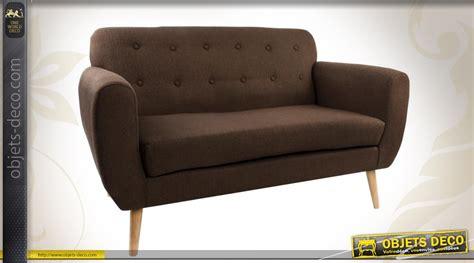 canape en bois et tissu canapé 2 place en bois et tissu coloris marron avec capitons