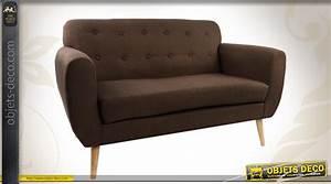 Canapé Bois Et Tissu : canap 2 place en bois et tissu coloris marron avec capitons ~ Teatrodelosmanantiales.com Idées de Décoration