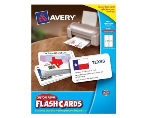 Avery Custom Print Flash Cards Punched Buy It Now Avery Custom Print Flash Cards 3 X 5 Inches