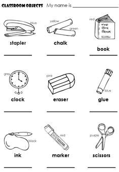 english worksheet classroom objects  pencil paper
