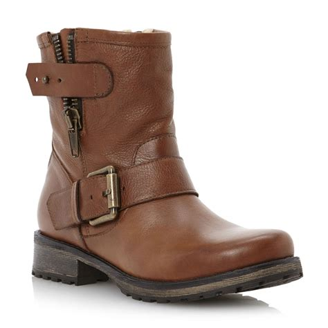 womens brown leather biker boots new dune ladies promey womens tan brown zip leather ankle