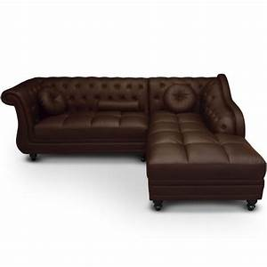 canape d39angle droit 5 places marron cuir simili pas cher With canapé d angle chesterfield marron