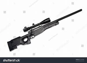 Modern Military Sniper Rifle With Riflescope Isolated On ...