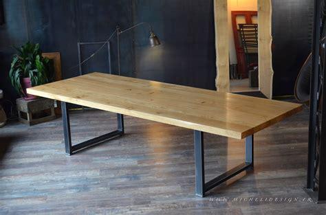 table cuisine chene table haute en bois métal de style industriel micheli