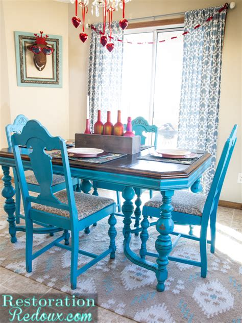 colorful kitchen table sets turquoise dining table daily dose of style 5574
