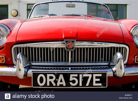 Red Mgb Classic British Open Red Sports Car, Front