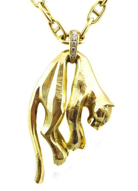 f1f94fe439b914 Cartier Panther Diamond Gold Pendant Necklace At 1stdibs