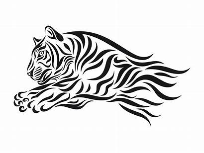 Tiger Clipart Vector Stencil Tribal Cliparts Illustration