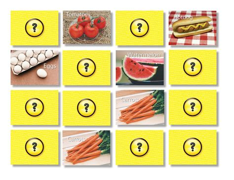matching game foods memory matching card stages learning materials